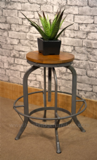 INDUSTRIAL STYLE MANGO TOP ADJUSTIBLE HEIGHT SWIVEL STOOL - GREY LEGS